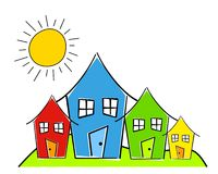 Childlike Row of Houses. A clip art illustration featuring a childlike simplistic drawing of various houses in blue, red, and green with sun and grass - single Vector Illustration