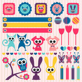 Childlike scrapbook elements with animals Stock Photography