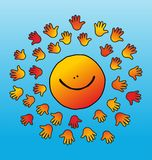 Childly smiling and soft touching sun Royalty Free Stock Photo