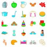 Childminder icons set, cartoon style. Childminder icons set. Cartoon set of 25 childminder vector icons for web isolated on white background Stock Photography
