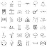 Childminder icons set, outline style. Childminder icons set. Outline set of 36 childminder vector icons for web isolated on white background Stock Photos