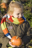 Childr on pumpkin field Royalty Free Stock Photo