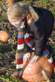 Childr on pumpkin field Stock Photography