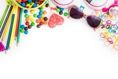 Childre materiał i cukierki zdjęcia royalty free