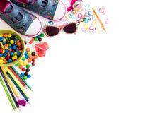 Childre materiał i cukierki zdjęcia stock