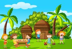 Childre picnic in the park. Illustration Royalty Free Stock Photography