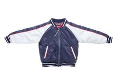 Children's autumn or winter jacket. Stylish childrens blue and stock image