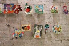 Children's-Fantasie auf Wäscheklammern Stockbild