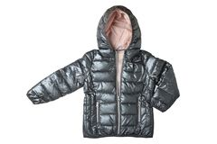 Children's-Jacke lokalisiert Moderner warmer Abstieg des silbernen Graus lizenzfreie stockfotografie