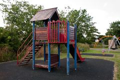 Children's play structure in Leonard Stanley stock image