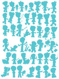Children�s silhouettes Stock Image