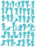 Childrenâs silhouettes stock illustrationer