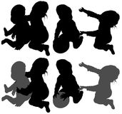 Children�s Silhouettes Royalty Free Stock Photo