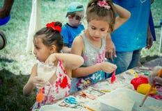 Children – boys and girls - participating at anti-stress toy creation workshop. Zaporizhia/Ukraine- June 2, 2018: – boys and girls - participating royalty free stock images