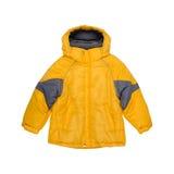 Children żółta kurtka odizolowywająca na białym tle fotografia royalty free