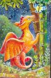 Children& x27; иллюстрация s дракона на ноче Картина маслом на ca Стоковые Фото