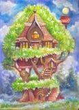 Children& x27; иллюстрация s с фантастическим домом на дереве Pic фантазии Стоковая Фотография RF