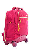 Children& x27; цвет сумки вагонетки школы s красный стоковая фотография
