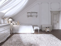 Children& x27; 经典样式的s室与床和五斗橱 库存例证