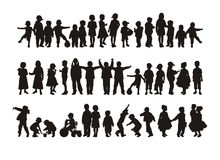 Children. Composition with silhouettes of children. On a white background forty four children's silhouettes are located. At each child the employment Royalty Free Stock Images