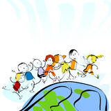 Children. And planet earth, watercolor style painting Royalty Free Stock Photo