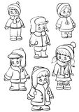 Children. Recruitment of children in the top winter clothes Royalty Free Stock Image