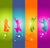 Children. Jumping kids colorful abstract background Royalty Free Stock Images