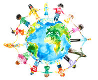 Children. Of different races hugging the planet Earth.Picture I have created yself with watercolors Stock Photos