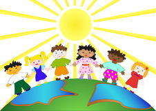 Children. Illustration of a children on the planet Earth Royalty Free Stock Photography