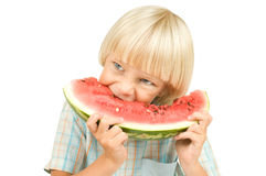 Children. The little children boy  eating watermelon, on white background, isolated Royalty Free Stock Photography