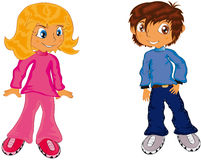 Children. Vector illustration shows children, a boy and a girl Stock Photo