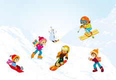 Children. Vectors illustration shows children playing on the slopes royalty free illustration