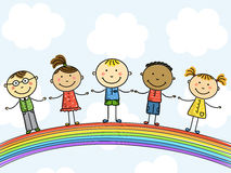 Children. Funny kids on a rainbow Royalty Free Stock Images