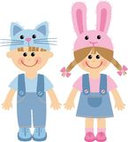 Children. Boy and girl in carnival costumes Royalty Free Stock Photography