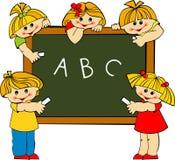 Children. Schoolgirls and schoolboys in school stock illustration