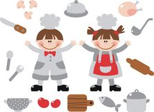 Children. Boy and girl learning to cook Stock Photo