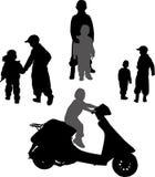 Children. Black silhouettes of children, child on scooter Stock Photo