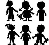 Children. Silhouettes of children with toys Royalty Free Stock Image