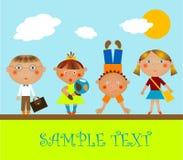 Children. Go to school to classes vector illustration