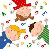 The Children. Cartoon characters. Colorful graphic illustration for kids Stock Images