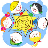 Children. Round the sun to keep for hands vector illustration