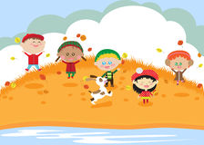 Children. Jump and have fun. Autumn Royalty Free Stock Images