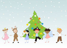 Children. Happy children to keep for hands. Christmas Royalty Free Stock Photo