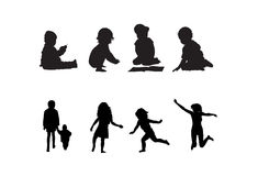 Children. Silhouettes and actions of children in black and white colors Royalty Free Stock Image