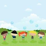 Children. Five children start up soap bubbles Stock Images