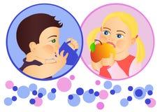 Children. Girl eating apple,boy drinking. Vector illustration Royalty Free Stock Photos