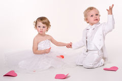 Children. Little boy and girl playing wedding Stock Photography