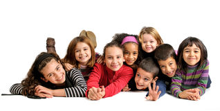Children. Group of children posing isolated in white