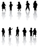 Children. Illustration of kids silhouettes, black Royalty Free Stock Images