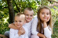 Children. Happy children embracing, family photo Royalty Free Stock Photography